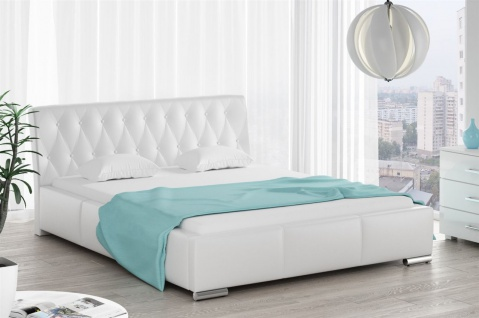 Polsterbett Bett Doppelbett THORE Kunstleder Weiss 180x200cm