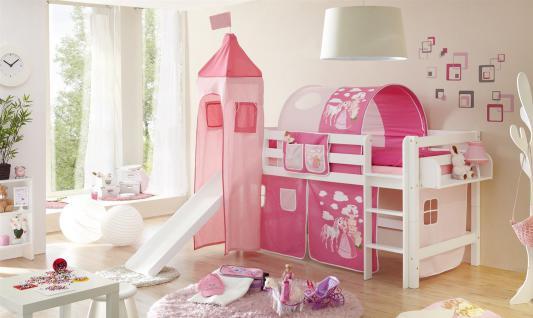 Rutschbett ROBI XL Buche Weiss inkl.Vorhang und Turm Prinzessin-Pink
