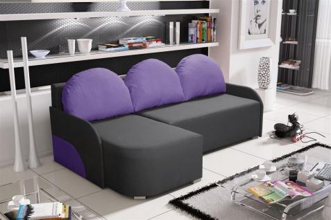 Ecksofa Sofa CANDY mit Schlaffunktion Ottomane Links Anthrazit/Violett