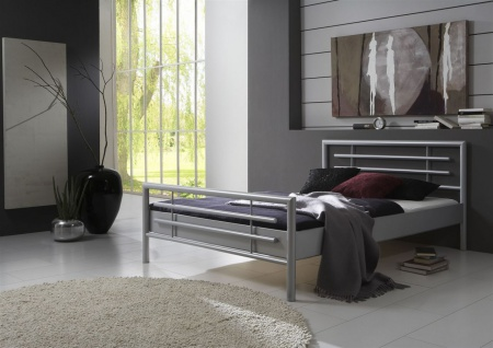 Metallbett Doppelbett Bett STEEL Nr.01 Silber Lackiert 180x220 cm