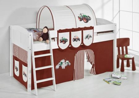 Spielbett Bett -LANDI -Trecker Braun -Teilbar-Kiefer Weiss-mit Vorhang