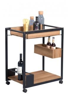 Beistelltisch Tisch RIMA 64x38 cm auf Rollen Dekor Eiche braun