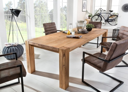 Esstisch NATUR Tisch 240x100 Wildeiche massiv geölt / Fuß 120x120 mm