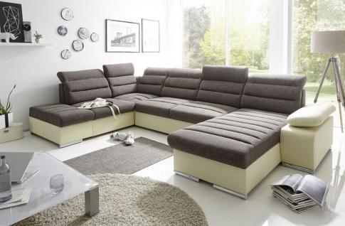 Couchgarnitur PASCARA U-Form mit Schlaffunktion-Creme /Ottomane Rechts