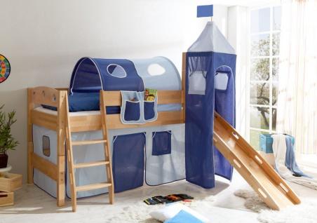 Rutschbett COLIN R Buche Natur inkl.Vorhang und Turm Blau