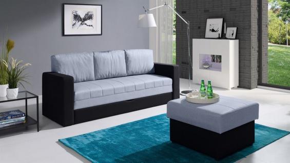 Sofa Schlafsofa LABRI 3-Sitzer inkl.Hocker Schwarz/ Hellgrau