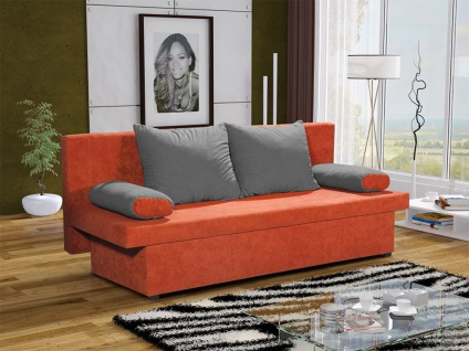 Sofa Schlafsofa inklusive Bettkasten DANNY Orange / Grau
