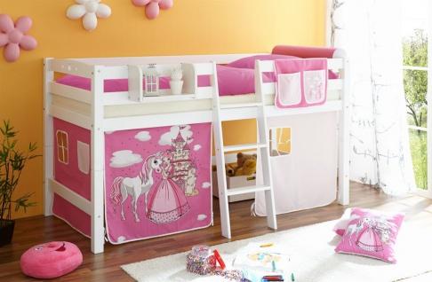 Hochbett Spielbett TORBI -Buche Weiss + Vorhang Prinzessin Pink