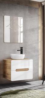 Badmöbel Set 2-tlg Badezimmerset FERMO Weiss HGL 80cm ohne Waschtisch
