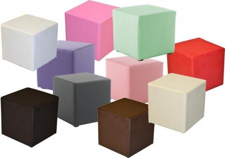 Sitzwürfel Sitzhocker Schminkhocker Hocker Sessel Kunstleder Creme 45x42x42 cm