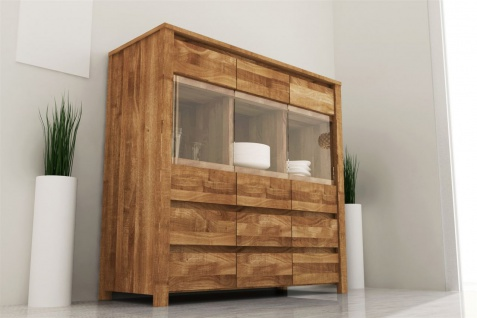 Highboard Kommode MAISON Kernbuche massiv geölt 115x112x45 cm