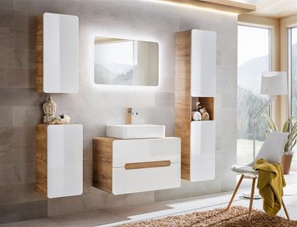 Badmöbel Set 6-tlg Badezimmerset FERMO Weiss HGL inkl. Waschtisch