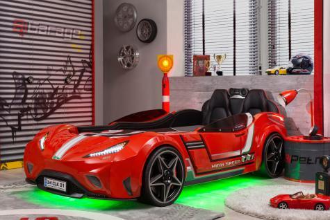 Autobett Kinderbett - Racer - Rot inkl. MP3 Player und Beleuchtung