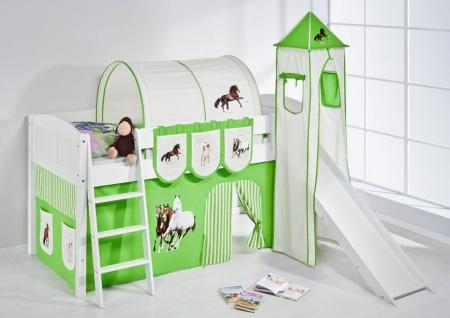 Spielbett mit Rutsche.Turm. Vorhang -LANDI/S -Pferde Grün-Kiefer Weiss