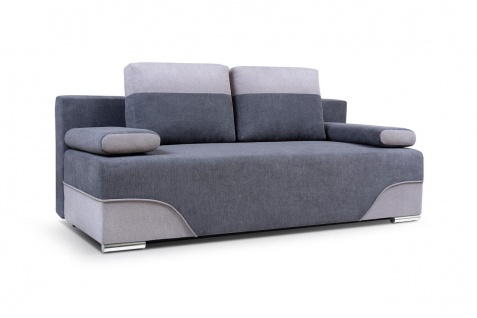 Sofa 2-Sitzer Schlafsofa ERIK Stoff Dunkelgrau- Hellgrau