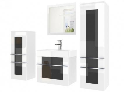 Badmöbel Set 4-tlg DAWINO Set.4 Weiss-Schwarz inkl.Waschtisch 50 cm