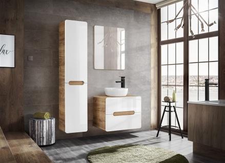 Badmöbel Set 3-tlg Badezimmerset FERMO Weiss HGL 80cm ohne Waschtisch