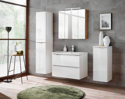 Badmöbel Set 5-tlg Badezimmerset PERUGIA Weiss Hochglanz Set.5
