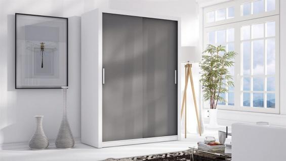 Schiebetürenschrank Schrank LUND Weiss/ Grau matt 150x215 cm