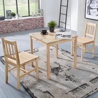 Tischgruppe BREMEN Kiefer massiv Natur 1 Tisch 70x70 und 2 Stühle - Vorschau 1
