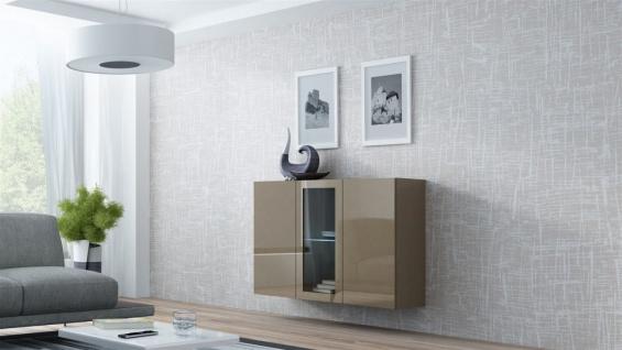 """Sideboard Hängesideboard """" LUGO"""" 120x38x90 cm Latte Hochglanz inkl. LED"""