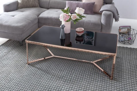 Couchtisch Tisch CHARMS 120x40 cm Metall Glas Schwarz / Kupfer