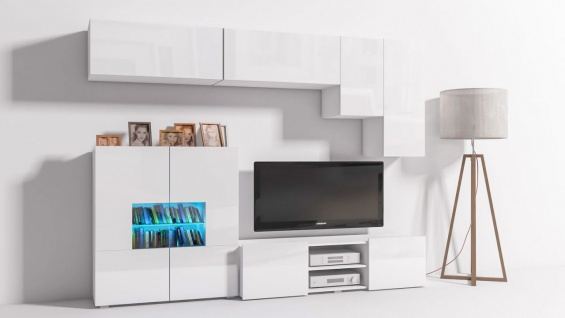 Mediawand Wohnwand 6 tlg - Konzept 21 - Weiss Hochglanz +LED