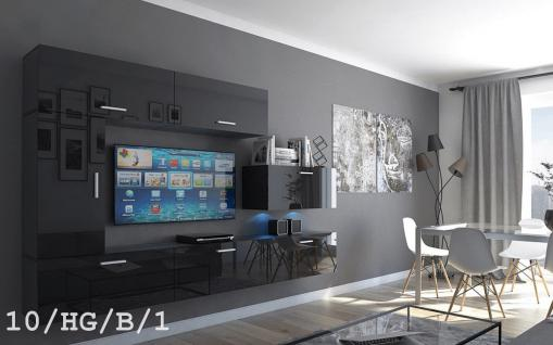 Mediawand Wohnwand 7 tlg - Bedox 3 - Schwarz Hochglanz inkl. LED