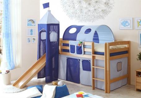 Rutschbett ROBI R XL Buche Natur inkl.Vorhang und Turm Blau