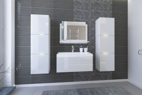 Badmöbel Set 5-Tlg Weiss HGL LOBOS inkl.80 cm Waschtisch und LED