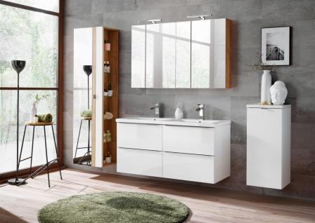 Badmöbel Set 7-tlg Badezimmerset PERUGIA Weiß Hochglanz Set.6