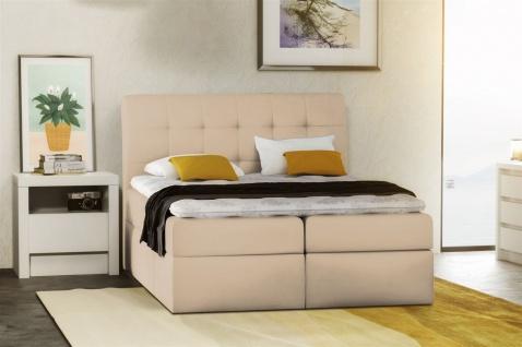 Boxspringbett Schlafzimmerbett TURIN Kunstleder Creme 120x200 cm - Vorschau 1