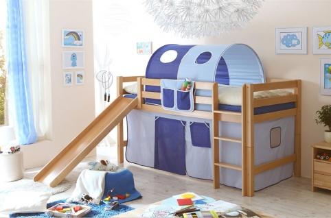Hochbett ROBI mit Rutsche Buche Natur + Vorhang Blau