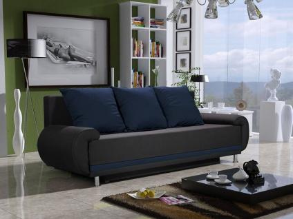 Sofa Designersofa MIKA 3-Sitzer mit Schlaffunktion Anthrazit- Blau