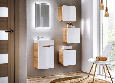 Badmöbel Set 6-tlg Badezimmerset FERMO Weiss HGL inkl. Waschtisch 40cm