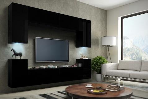 Mediawand Wohnwand 8 tlg - Konzept 1 - Schwarz HGL mit LED-Beleuchtung