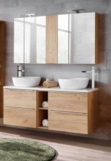 Badmöbel Set 7-tlg Badezimmerset PERUGIA Gold Eiche ohne Waschbecken