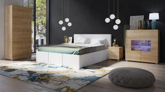 Schlafzimmer Komplett Set 5 tlg LABRI Weiss- Sonoma Eiche matt