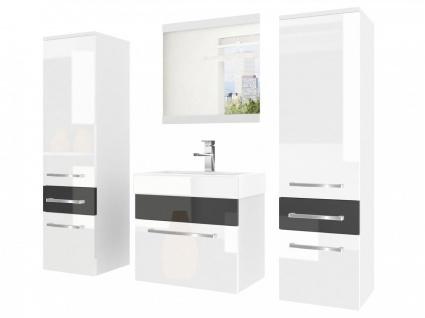 Badmöbel Set 4-tlg MARIO Set.5 Weiß-Schwarz HGL inkl.Waschtisch 50 cm