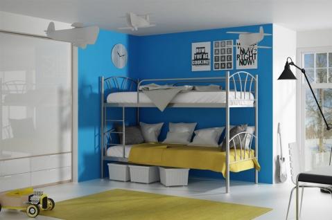 Metallbett LADY Silber Hochbett in zwei Einzelbetten teilbar