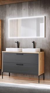 Badmöbel Set 3-tlg Badezimmerset PANTIN Grau ohne Waschtisch