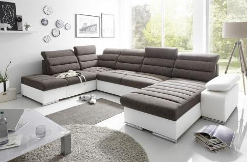 Couchgarnitur PASCARA U-Form mit Schlaffunktion-Weiss /Ottomane Rechts