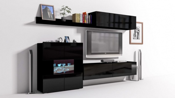Mediawand Wohnwand 6 tlg - Konzept 10 - Schwarz Hochglanz + LED