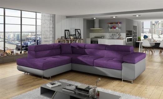 Couchgarnitur JADE Grau-Violett mit Schlaffunktion Ottomane Links