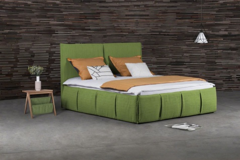 Polsterbett Doppelbett AGIS Stoff Grün 140x220cm