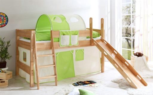 Hochbett COLIN mit Rutsche Buche Natur + Vorhang Beige/ Grün