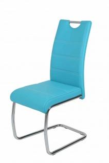 Esszimmerstühle Stuhl Freischwinger 4er Set ELENI Petrol
