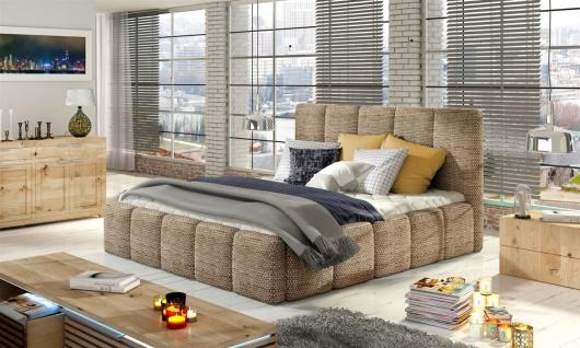 Polsterbett Bett Doppelbett VERONA Set 1 Webstoff Cappuccino 140x200cm
