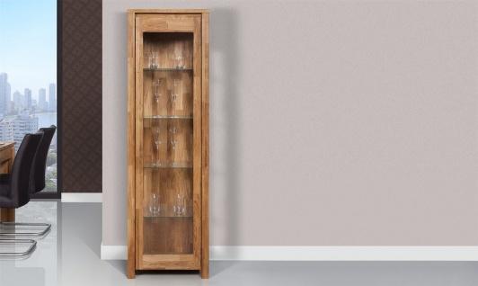 Vitrine Schrank MAISON Wildeiche massiv geölt 55x180x45 cm