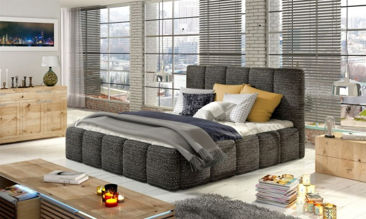 Polsterbett Doppelbett VERONA Komplettset Webstoff Grau 180x200cm